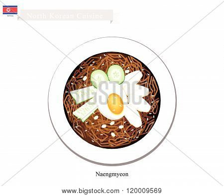 Naengmyeon Or Korean Cold Noodles With Egg And Kimichi