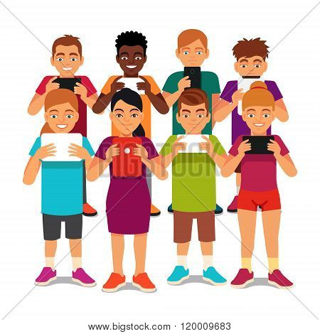 Group of kids looking into their tablets