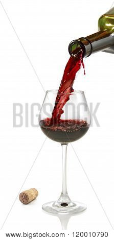 Isolated Image Of Bottle And Glass With Wine Close-up