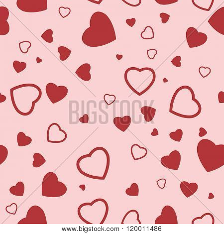 Seamless Texture of heart on red background. Illustration.