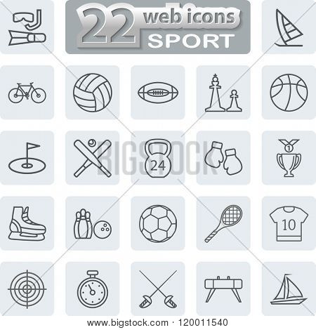 Sport Symbols Icons. Modern Web Collection Isolated on white background. Illustration.