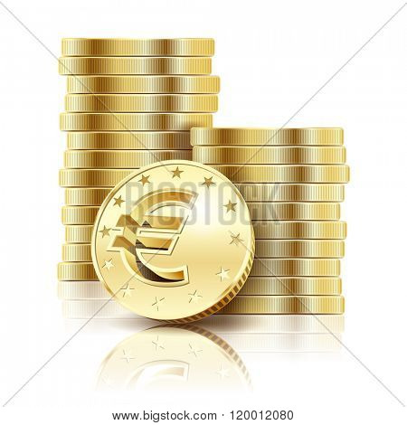 Golden Euro coins isolated on a white background. Illustration