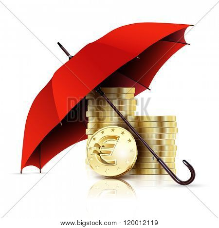 Red Umbrella and Money. Business Concept Euro Coins. Illustration. abstraction.