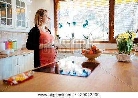 Beautiful pregnant woman ki kitchen anticipating baby
