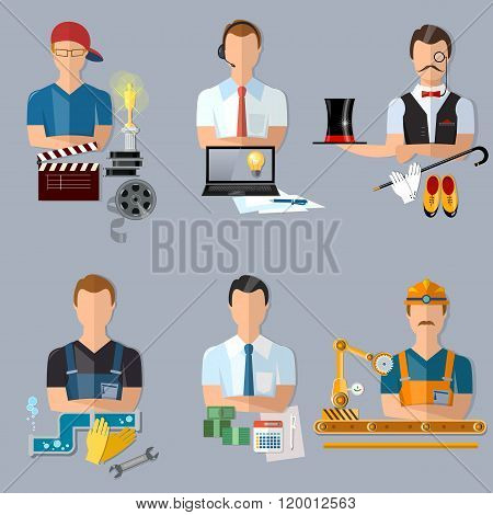 Collection Professions Set Producer Journalist Actor Plumber Manager Turner Operator Conveyor