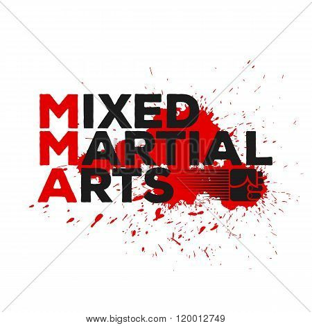 Mixed Martial Illustration with Flying Fist and Drops of Blood. Vector picture.
