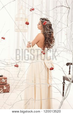 Girl On A Vintage Dress Possing With Birdcage