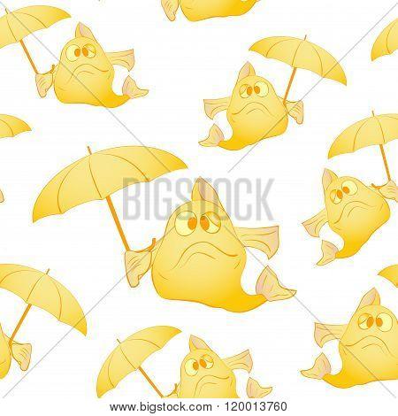 Yellow fish with umbrella