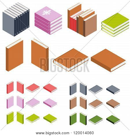 Isometric Books. The Stacks Of Books. Books Of Different Colors. Education Icon. 3D Book Logo