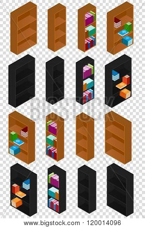 Set Of Bookshelves With Books In The Isometric. Wooden Bookcases For Books. Black And Brown Colors.