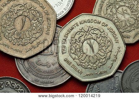 Coins of Jordan. Jordanian one dinar coin.