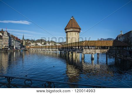 View on wooden bridge in Lausanne
