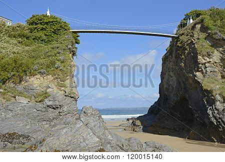 Beach And Bridge At Newquay, Cornwall, England