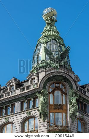 Historic Singer Company Building, At Present The House Of Books On Nevsky Prospekt, St. Petersburg,