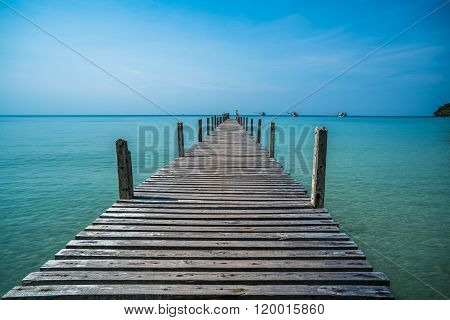 Tropical Sea And Wooden Pier, Holiday Background