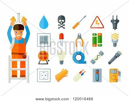 Flat vector icons electrical accessories. Electric character.