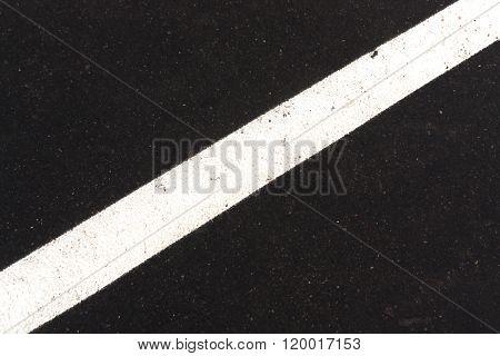 White Traffic Line On Asphalt Texture