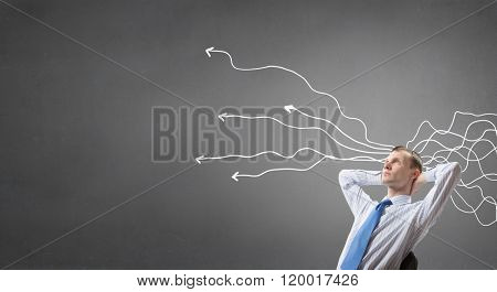 Pensive businessman searching solution