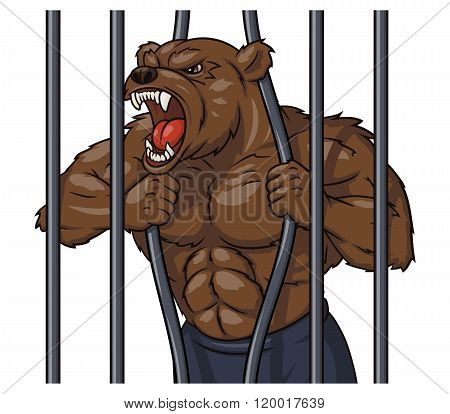 Angry bear in cage 3