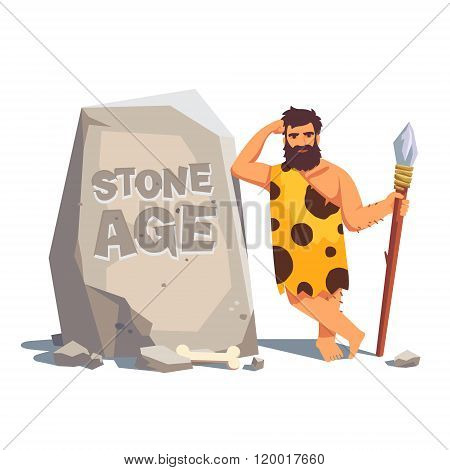 Big tablet rock with leaning caveman
