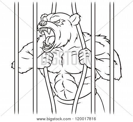 Angry bear in cage