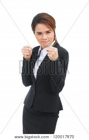 Asian Business Woman Geting Into A Fight Isolated On White Background