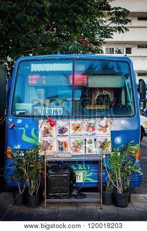 Mini-van selling food