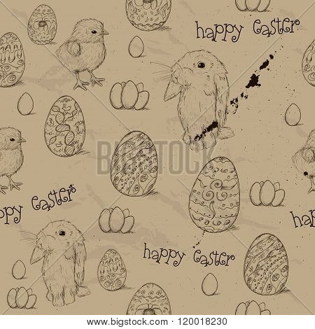 Vintage seamless texture with easter eggs.