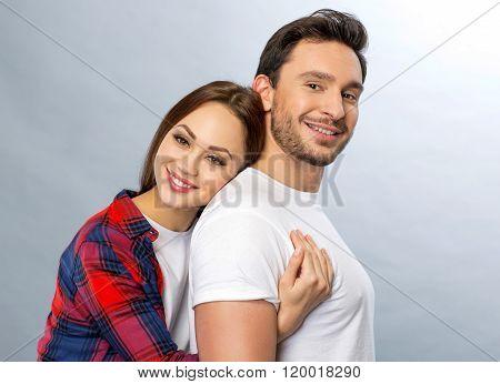 Pleasant couple embracing
