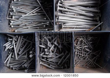 Assortment of Nails in Toolbox
