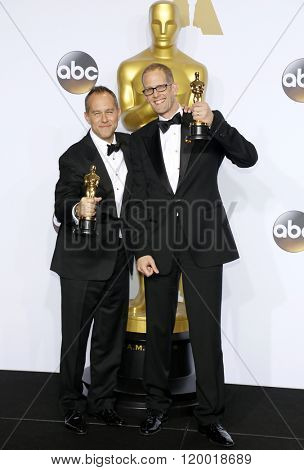 Jonas Rivera and Pete Docter at the 88th Annual Academy Awards - Press Room held at the Loews Hollywood Hotel in Hollywood, USA on February 28, 2016.