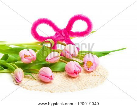 Pink Tulips With Ribbon, Doily