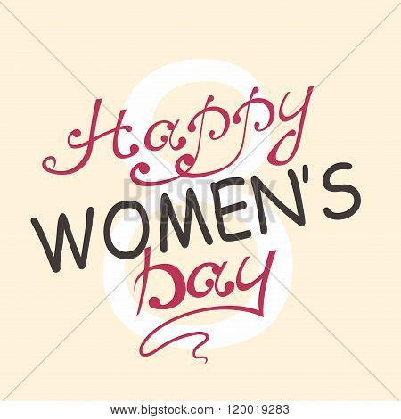International Women's Day. Text 8 March for celebration greeting card design. Happy Women's Day. Vec