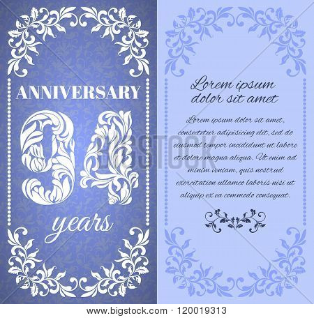 Luxury Template With Floral Frame And A Decorative Pattern For The 94 Years Anniversary. There Is A