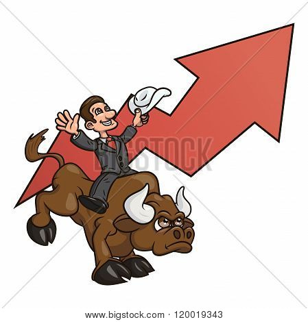 Businessman is riding bull 4