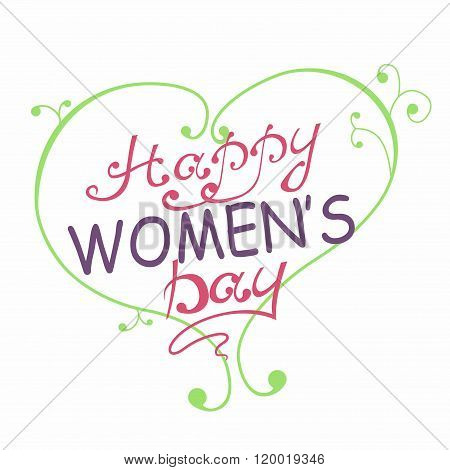 International Women's Day. Text 8 March and heart for celebration greeting card design. Happy Women'