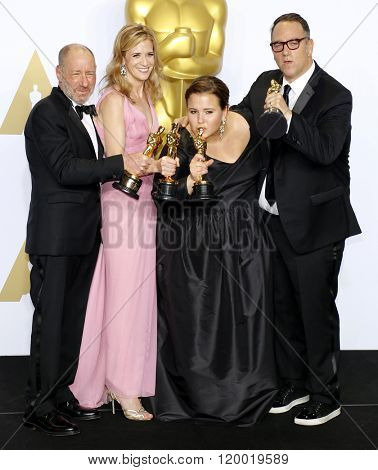 Steve Golin, Blye Pagon Faust, Nicole Rocklin and Michael Sugar at the 88th Annual Academy Awards - Press Room held at the Loews Hollywood Hotel in Hollywood, USA on February 28, 2016.