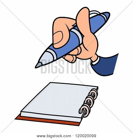 Hand with pen and notepad