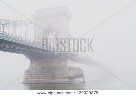Chain Bridge, Budapest, Hungary, in the fog