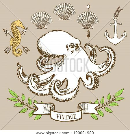 Octopus Poster With Shell, Anchor And Seahorse