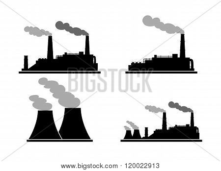 Set Of Industry Manufactory Building Icons. Plant And Factory, Power And Smoke, Oil And Energy.