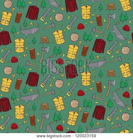 Seamless Pattern With Lumberjack's Elements.