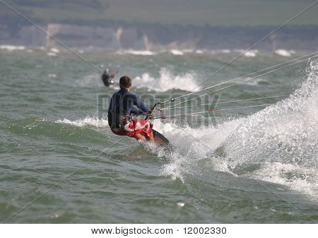 Kite surfer at speed
