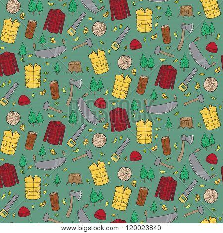 Seamless Pattern With Lumberjack's Elements.
