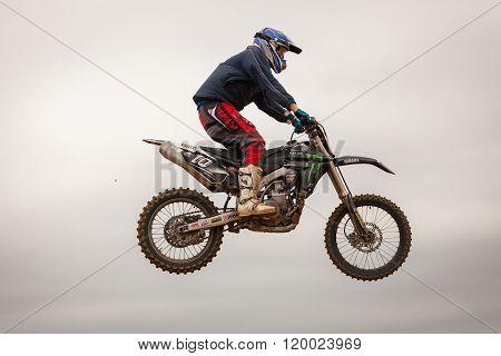 Pomorie, Bulgaria - March 24: 2013 - Motorbike In Flight, Bike Jump At The