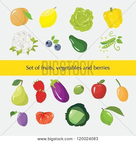 Set Of Different Fruits, Vegetables And Berries