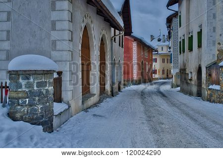 Glimpse Of The Village Of S-chanf In The Engadine Valley In Switzerland