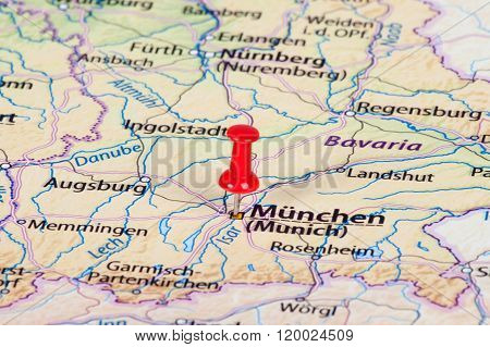 Close Up Of Munich Map With Red Pin - Travel Concept