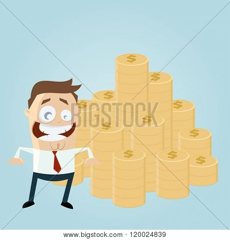 funny businessman with stack of money