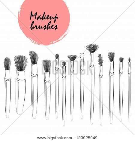 Vector Line Art Makeup Brushes Set